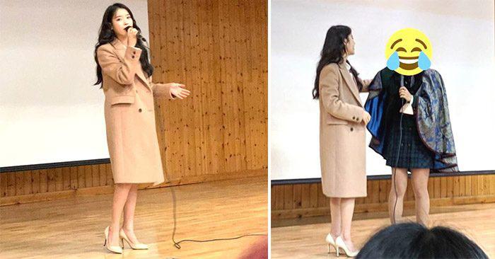 IU khiến khán giả ngỡ ngàng khi tham dự lễ tốt nghiệp của fan hâm mộ.