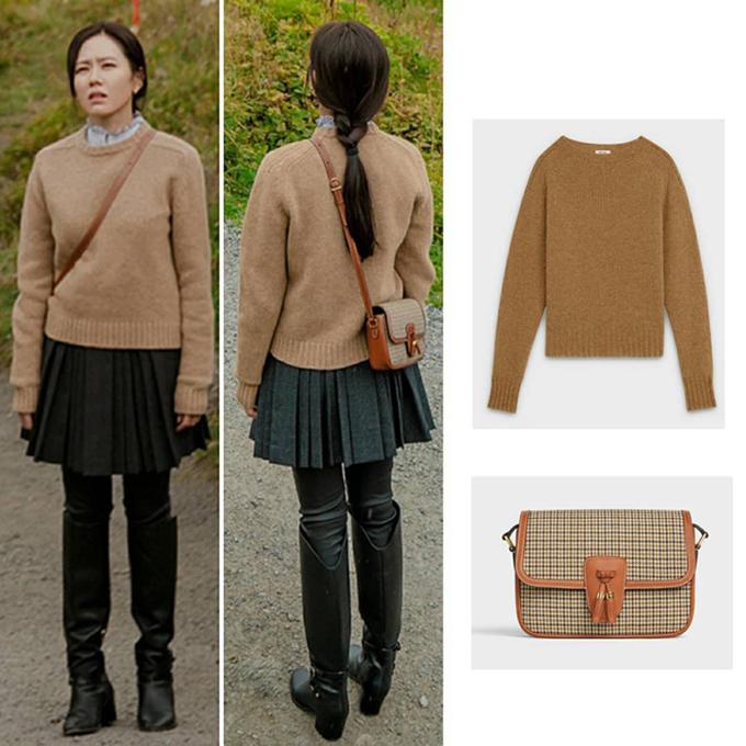 Chiếc áo len của Celine được Yoon Se Ri diện với túi cùng thương hiệu, giá 1.800 USD (gần 42 triệu đồng) làm toát lên nét cổ điển của những năm 70.