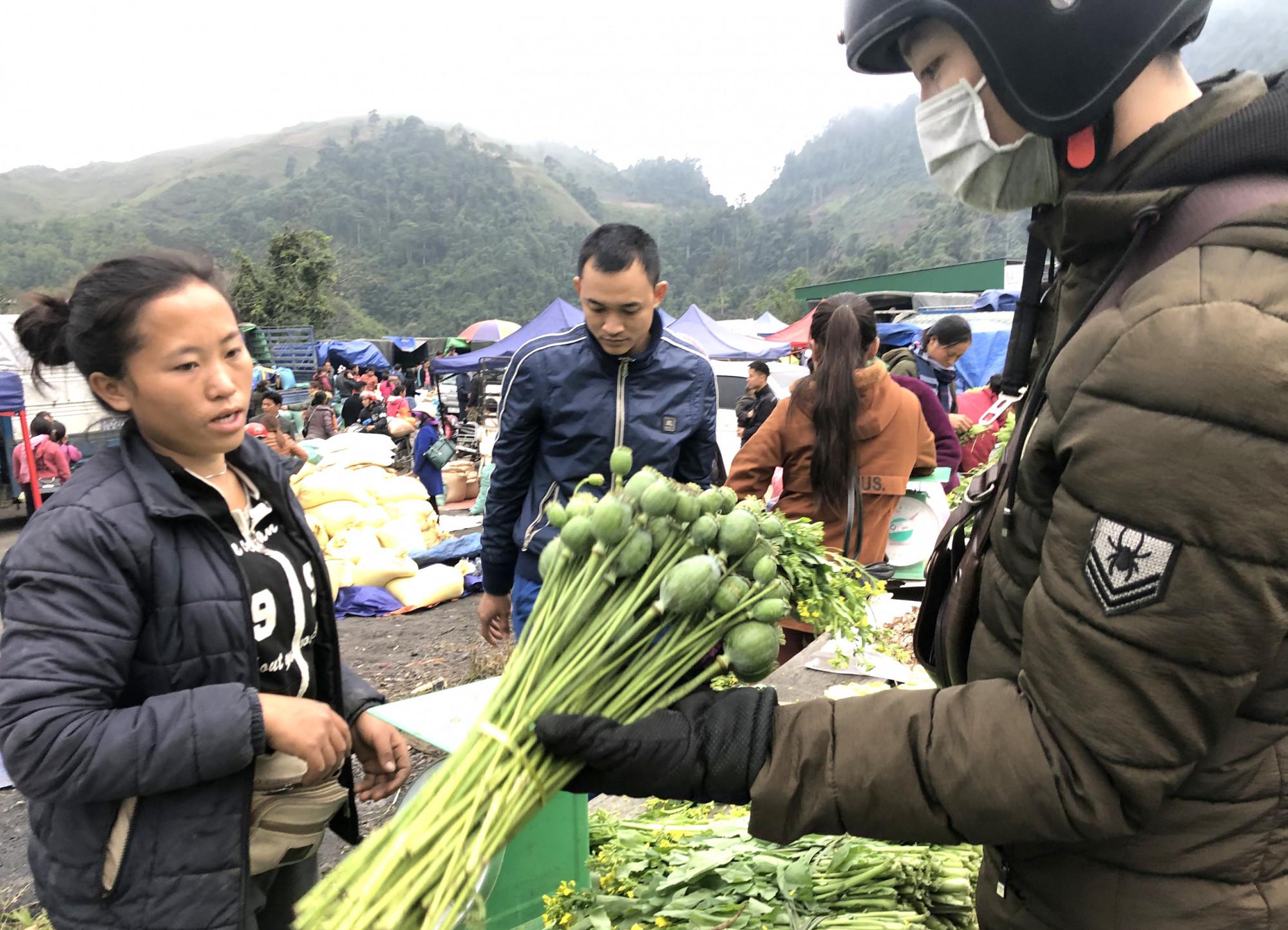 Nhiều du khách ngỡ ngàng khi thấy loại cây cấm ở Việt Nam lại được bán như rau ngoài chợ khi ghé thăm chợ biên giới Việt - Lào