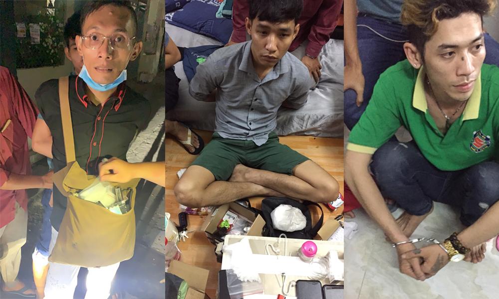 Các đối tượng từ trái qua phải Trần Minh Lương, Nguyễn Ngọc Phú, Trần Thanh Phi đang được tạm giữ, ảnh CA Bình Tân.