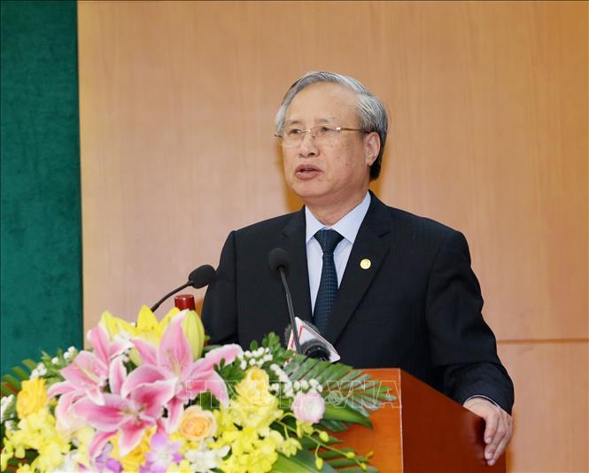 Đồng chí Trần Quốc Vượng, Uỷ viên Bộ Chính trị, Thường trực Ban Bí thư phát biểu chỉ đạo hội nghị. Ảnh: Phương Hoa/TTXVN