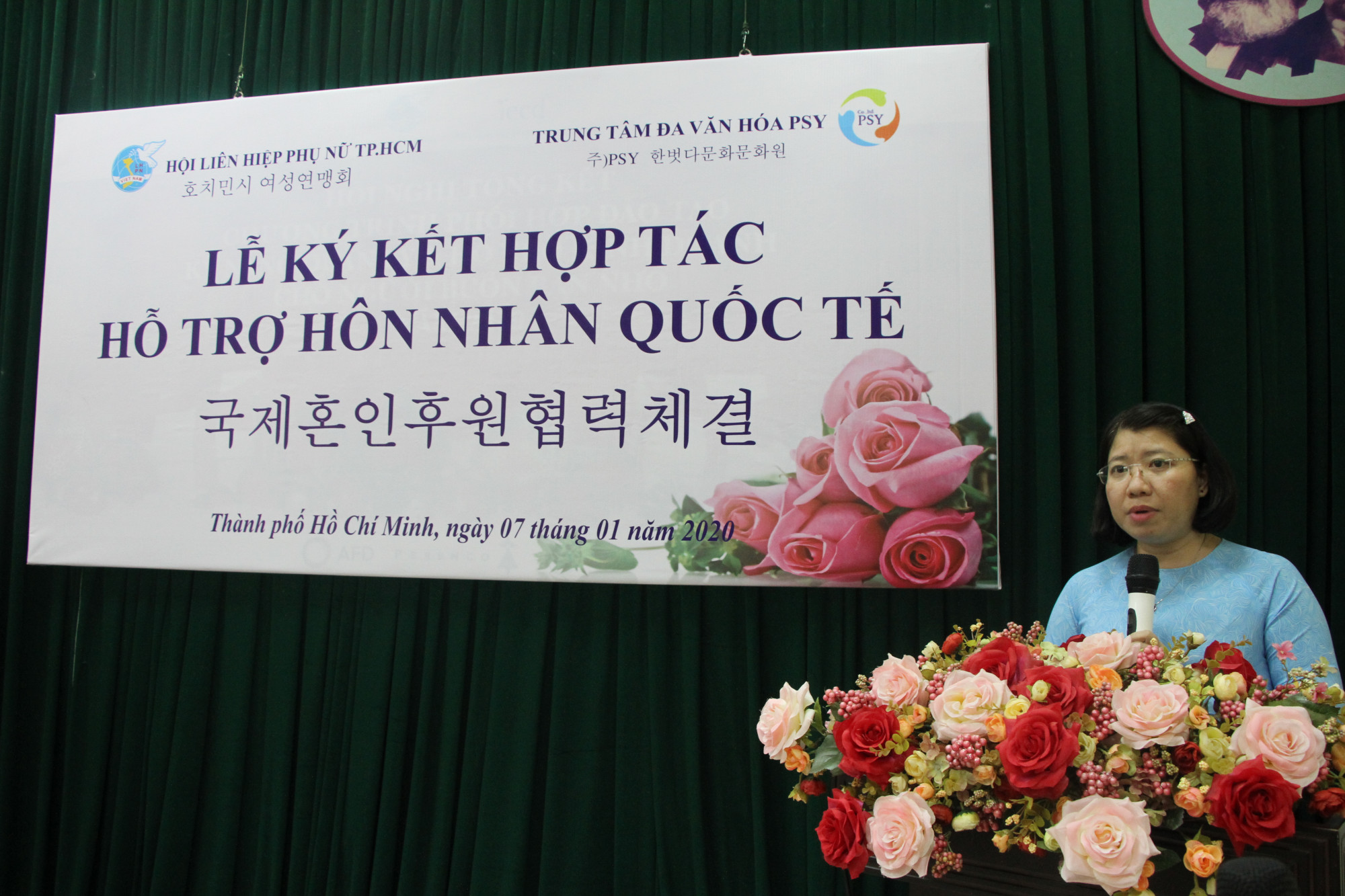 Bà Trần Thị Huyền Thanh - Phó Chủ tịch Hội LHPN TP.HCM phát biểu.