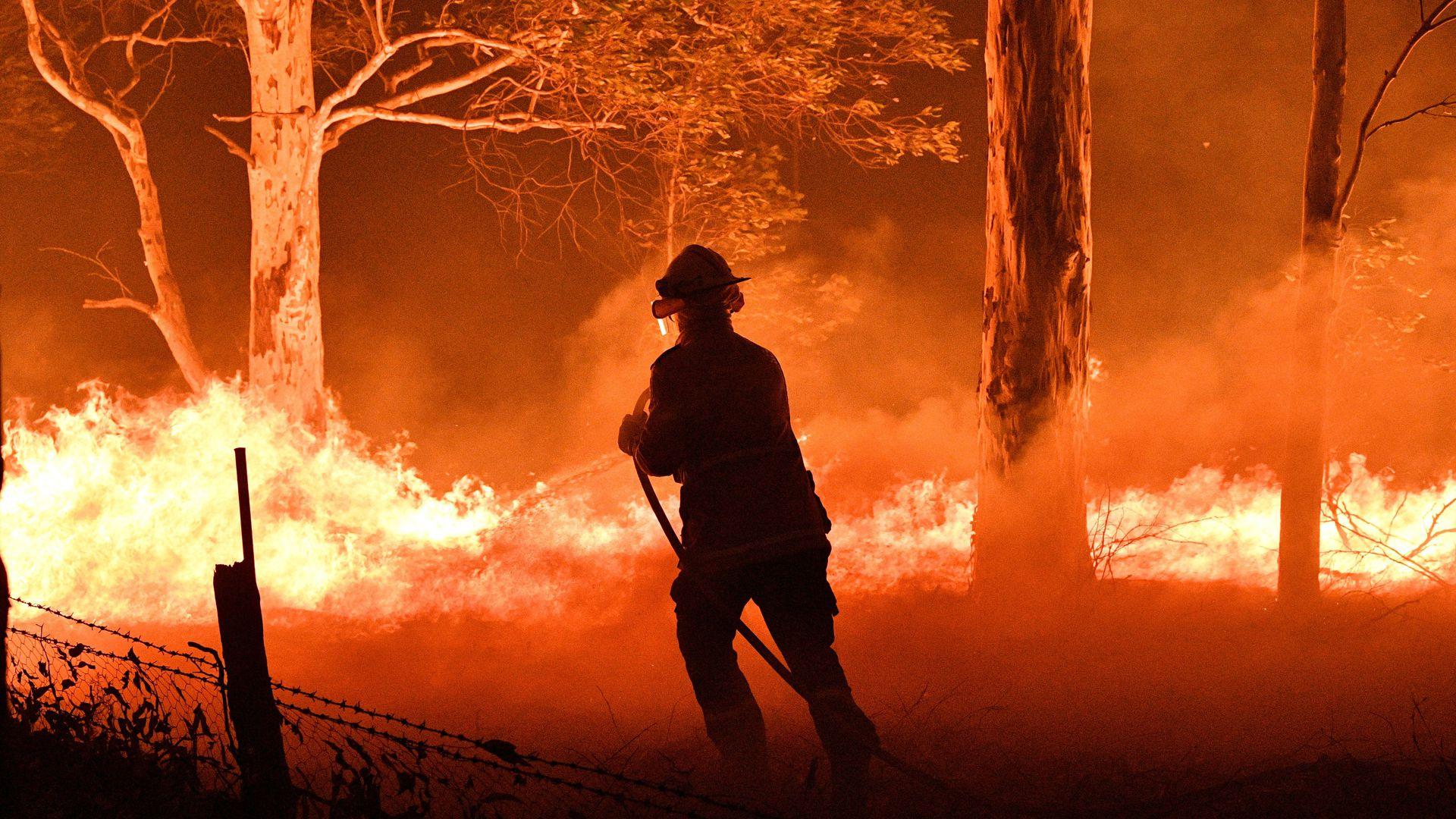 Lính cứu hỏa chiến đấu vô vọng với lửa trong điều kiện nhiệt độ cao và hạn hán - Ảnh: Axios