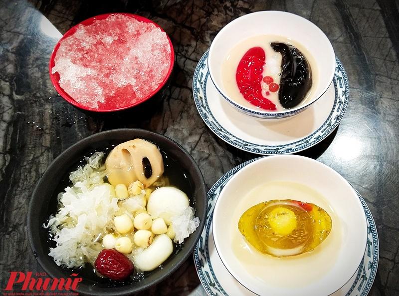 Món chè Quế Hoa Nguyên Bảo, Lưỡng Nghi Đại Cát, Mã đề sen tuyết được nấu ngon, thơm và trang trí rất đẹp mắt.
