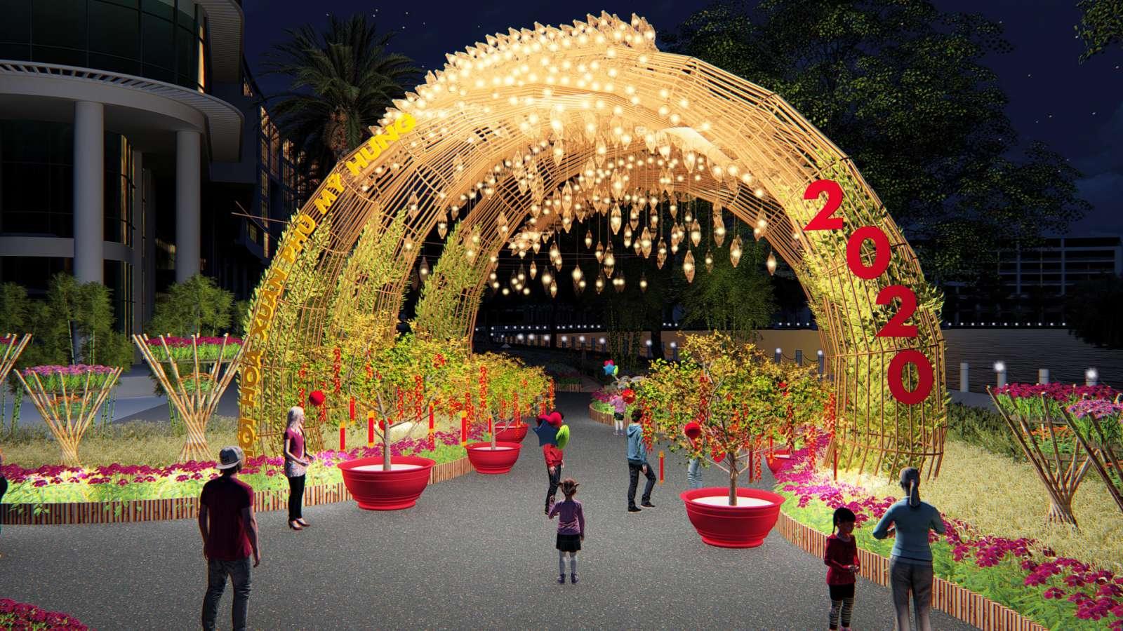 Cổng chính Hội hoa xuân Phú Mỹ Hưng tết Canh Tý 2020