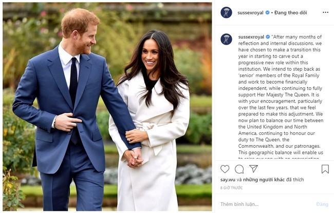 Thông báo rút khỏi Hoàng gia Anh được vợ chồng hoàng tử Harry đăng tải trên Instagram khiến dư luận bất ngờ. Ảnh từ Internet
