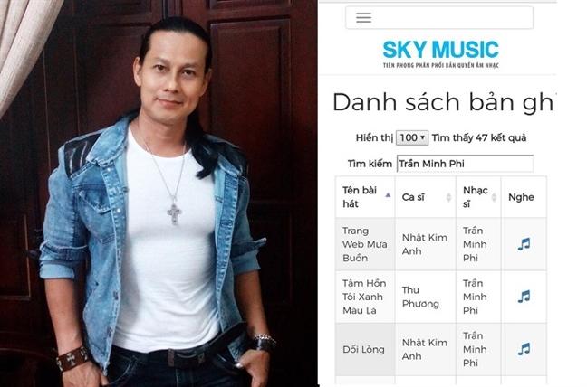 Sky Music sử dụng nhiều tác phẩm của nhạc sĩ Trần Minh Phi để kinh doanh nhưng không xin phép, không thực hiện nghĩa vụ theo luật định hiện hành.