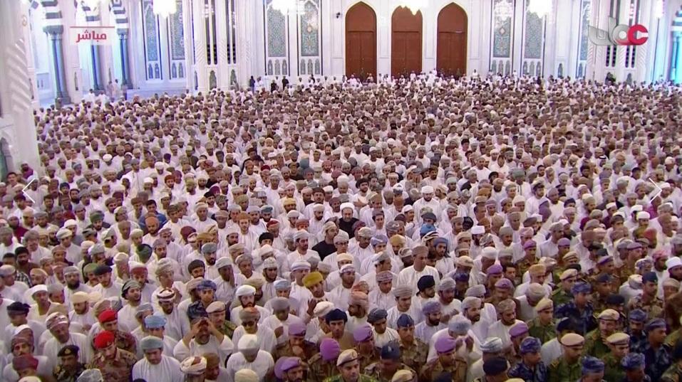 Mọi người tham dự lễ tang của Quốc vương Qaboos bin Said tại Nhà thờ Lớn Sultan Qaboos ở Muscat, Oman, Thứ Bảy, ngày 11/1/2020.