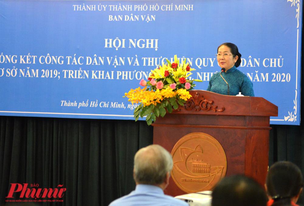 Phó Bí thư Thành ủy TP.HCM Võ Thị Dung phát biểu chỉ đạo công tác dân vận tại hội nghị sáng 11/1/2020