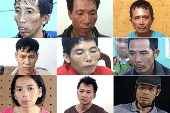 Các bị cáo trong vụ sát hại nữ sinh Cao Mỹ Duyên