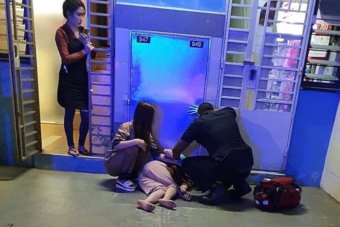 Người phụ nữ Việt lúc rơi xuống. Ảnh: TNP