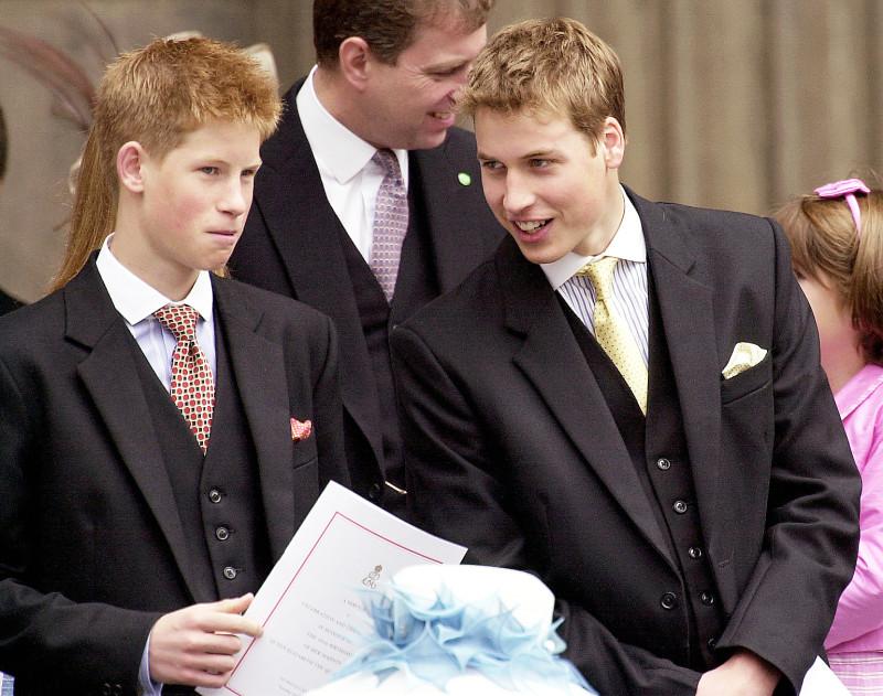 Hoàng tử William và Hoàng tử Harry trò chuyện trong một sự kiện của Hoàng  Hoàng tử William và Hoàng tử Harry mặc vest đen lịch lãm, xuất hiện tại Lễ Tạ Ơn ở Nhà thờ St. Paul vào tháng 7/2000.gia Anh.