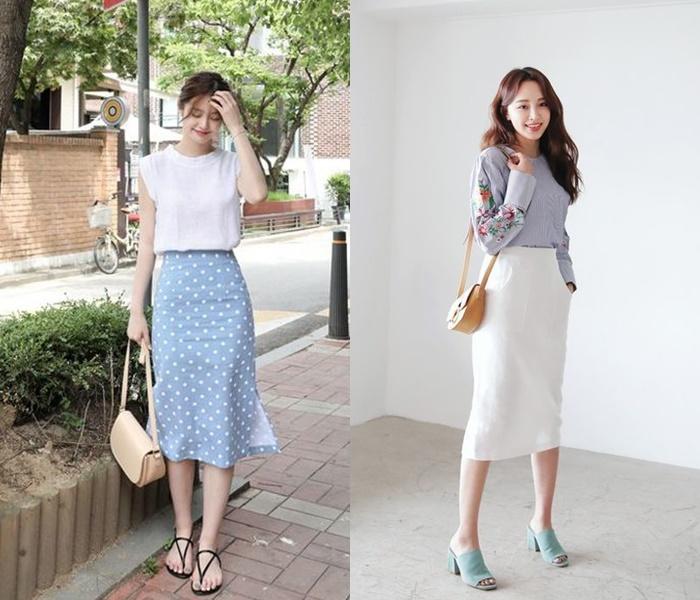 Ưu điểm của chân váy suông là thiết kế đứng dáng, tạo cảm giác liền mạch cho set đồ. Nhờ đó, thân hình của bạn cũng trở nên gọn gàng, thanh thoát hơn, chiều cao được cải thiện đáng kể. Với mẫu chân váy suông họa tiết thì bạn nên chọn mix cùng áo trơn và ngược lại.