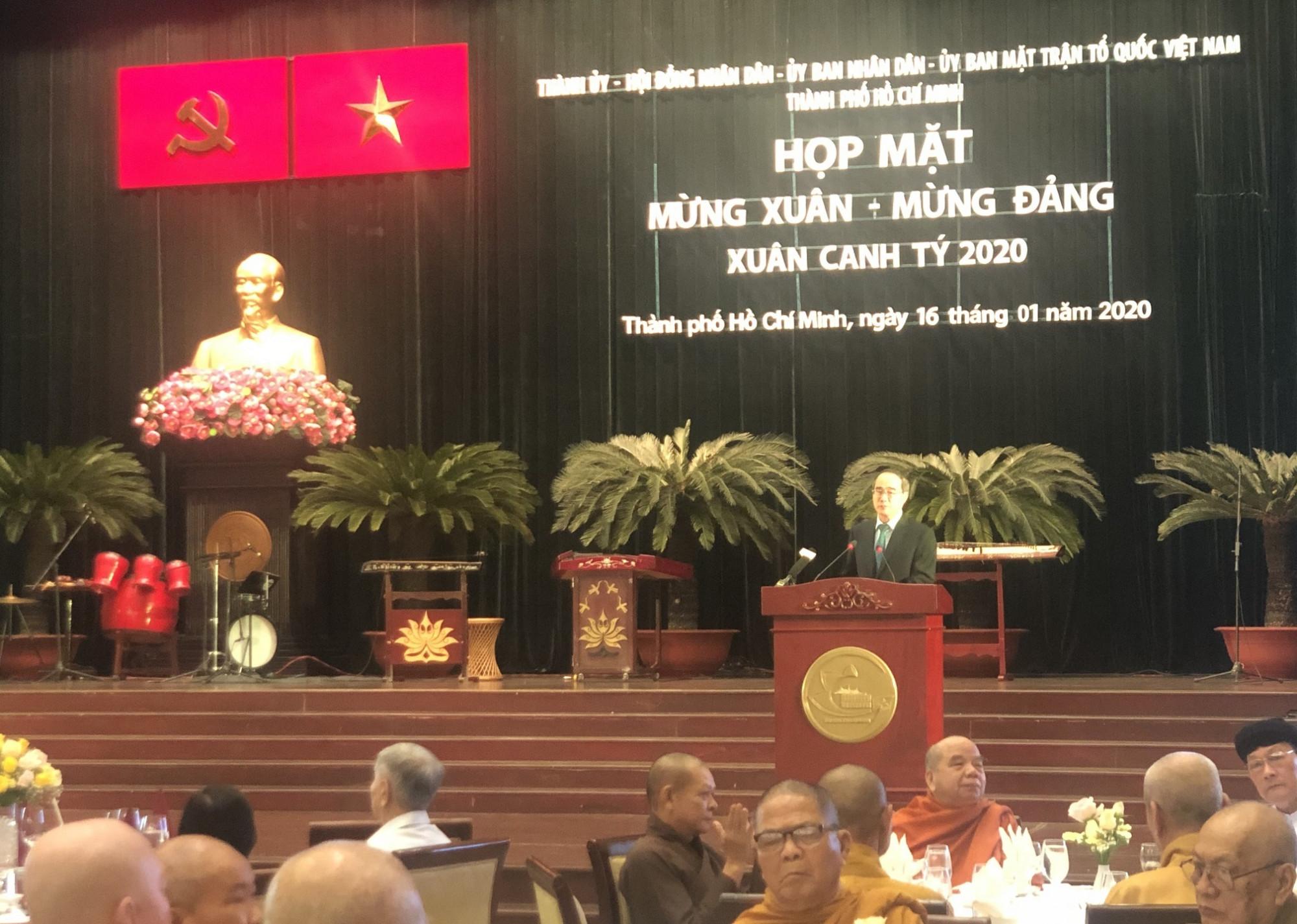 Bí thư Nguyễn Thiện Nhân phát biểu tại buổi họp mặt mừng Xuân - mừng Đảng nhân dịp Tết Canh Tý 2020. Ảnh: Quốc Ngọc