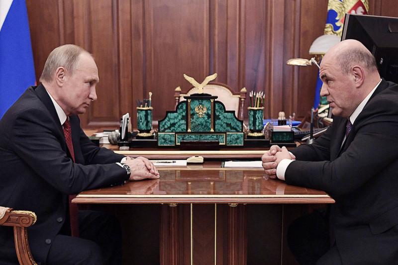 Tổng thống Nga Vlardimir Putin làm việc cùng thủ tướng mới do ông đề cử và được Hạ viện chấp thuận - Mikhail Mishustin.
