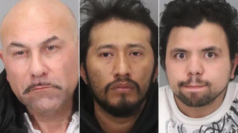 Các nghi phạm từ trái sang: Albert Vasquez, Antonio Salvador và Hediberto Avarenga.