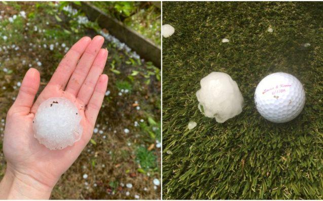 Hình ảnh trên mạng xã hội cho thấy những viên mưa đá có kích thước bằng quả banh golf rơi xuống khu dân cư ở thành phố Melbourne.