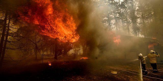 Lính cứu hỏa chiến đấu với đám cháy Morton Fire gần Bundanoon (NSW) hôm 23/1 - Ảnh: AP