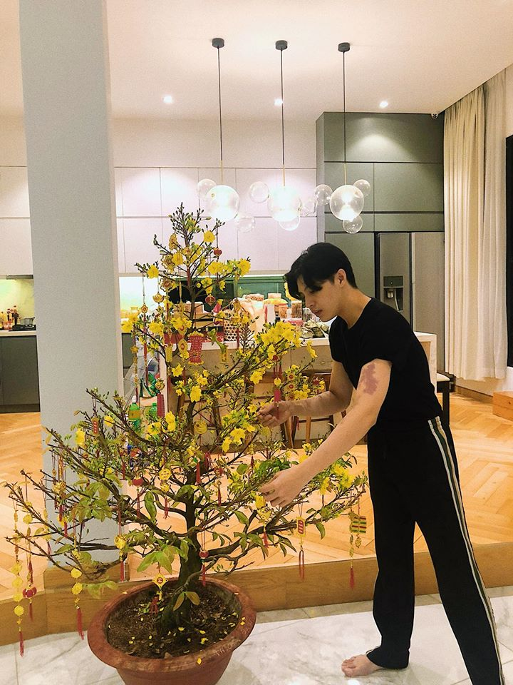 Ca sĩ Noo Phước Thịnh chia sẻ khoảnh khắc đón năm mới tại gia đình. Anh tranh thủ chỉnh sửa lại gốc mai, những vật dụng trang trí ngày Tết.