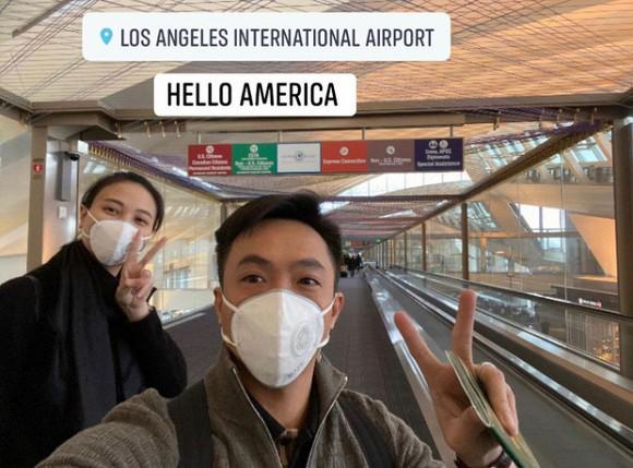 Đàm Thu Trang và Cường Đô la du xuân đến Mỹ và không quên đeo khẩu trang chống virus.