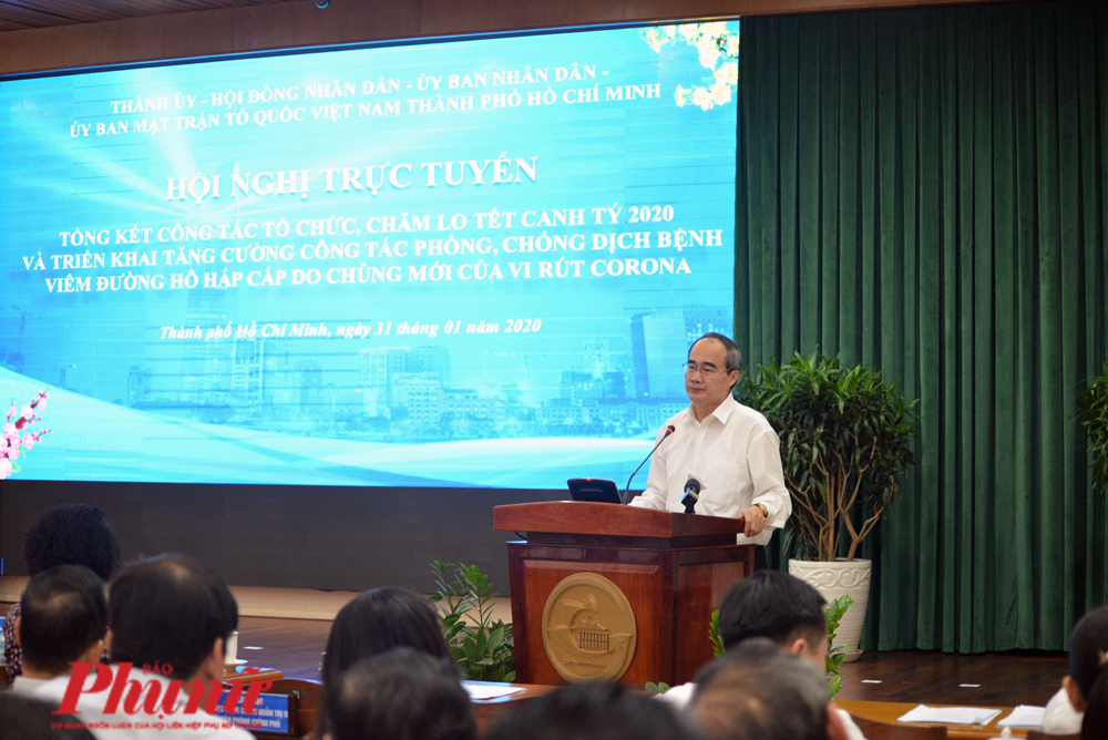 Bí thư Nguyễn  Thiện Nhân chỉ đạo chống dịch virus corona quyết liệt để mang lại sự bình yên cho n gười dân TP.HCM