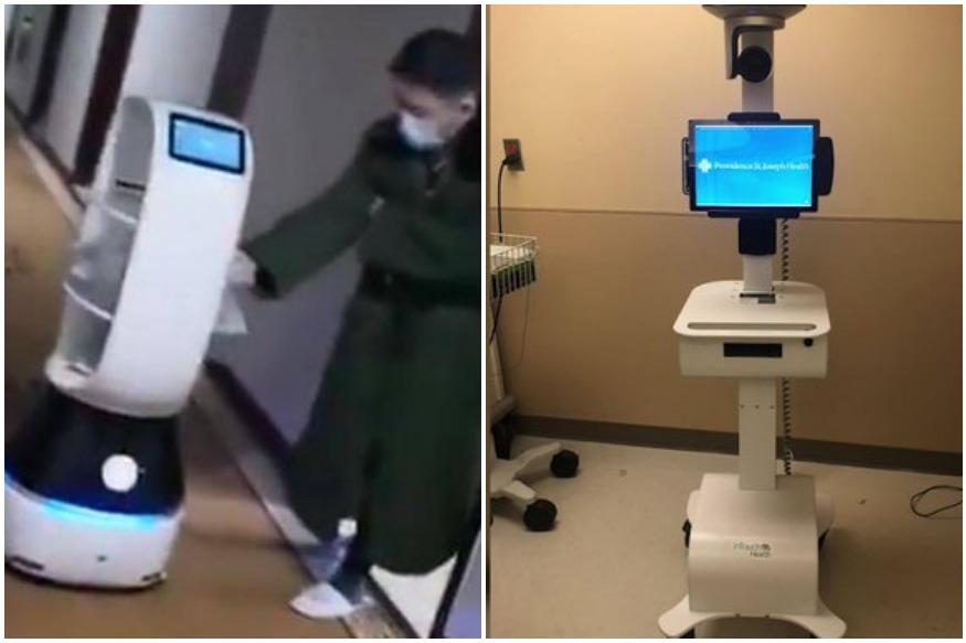 Robot vận chuyển thức ăn cho bệnh nhân tại Hàng Châu.