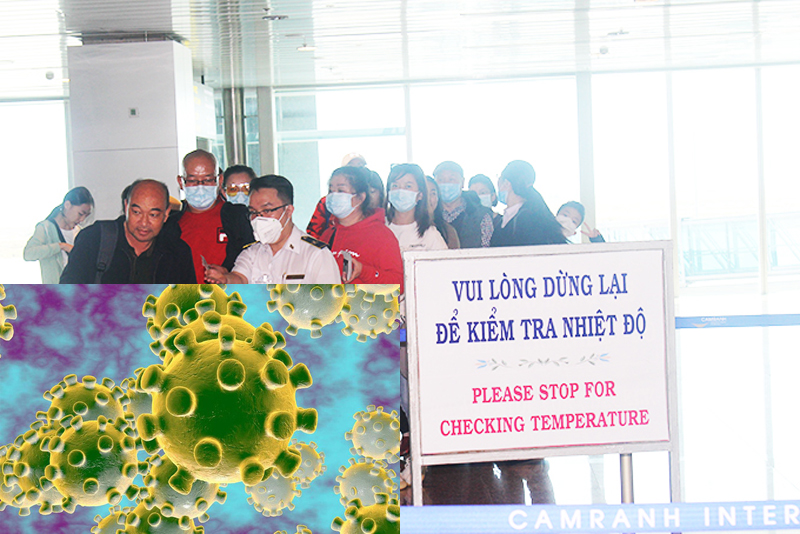 Kiểm tra thân nhiệt hành khách tại sân bay quốc tế Cam Ranh, Khánh Hòa