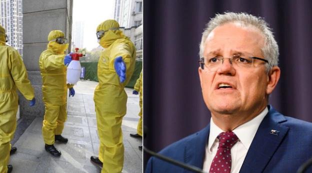 Thủ tướng Scott Morrison (phải) công bố quyết định ngừng đón nhận khách du lịch từ Trung Quốc nhằm giảm nguy cơ lây nhiễm.