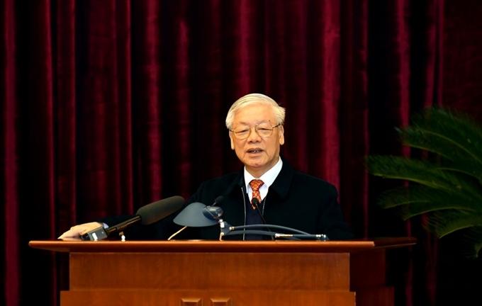 Tổng Bí thư, Chủ tịch nước Nguyễn Phú Trọng phát biểu tại buổi gặp mặt