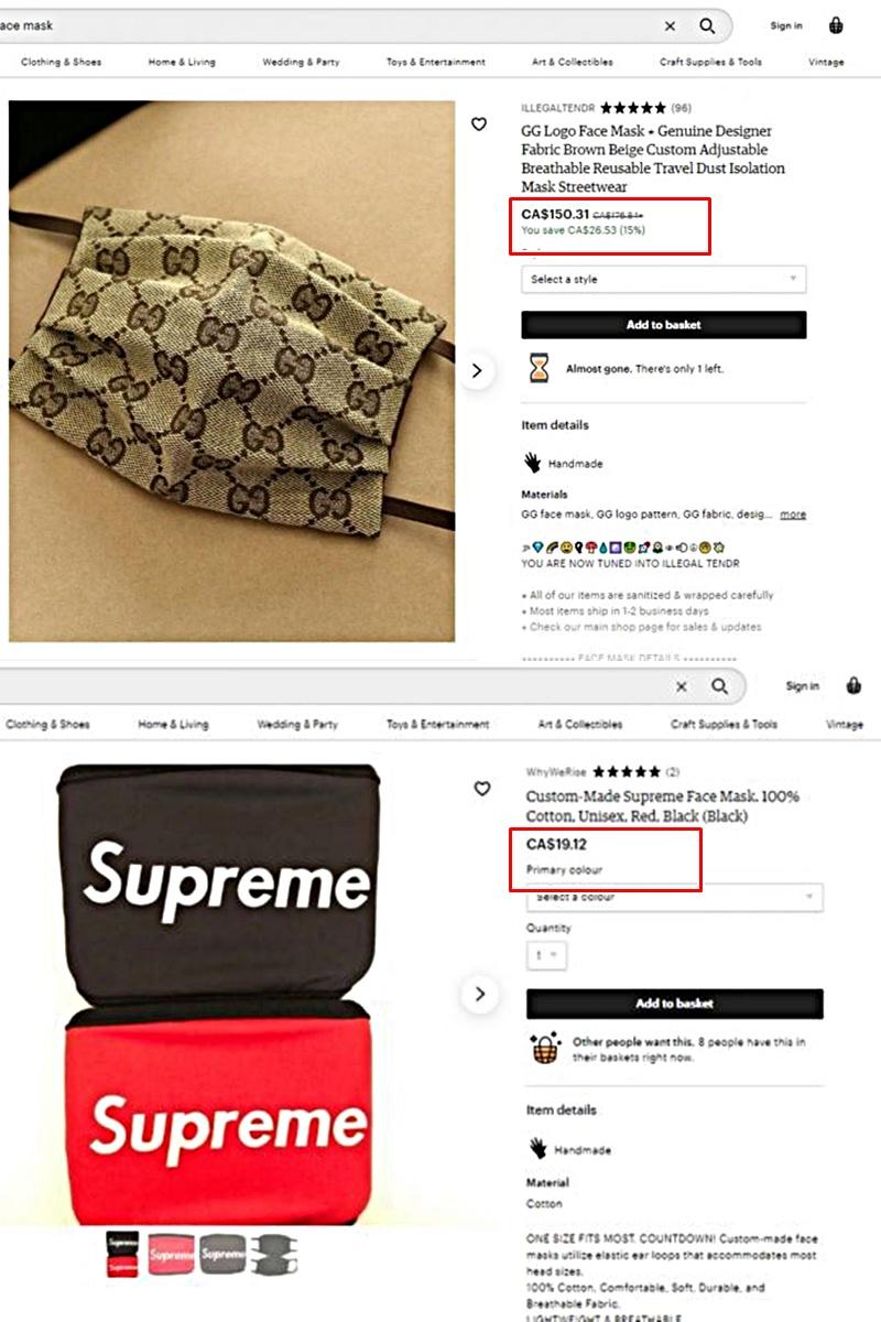Khẩu trang nhái Gucci, Supreme được bán với giá ''trên trời'' nhưng không ít người tìm mua giữa tình hình dịch bệnh đáng lo ngại.