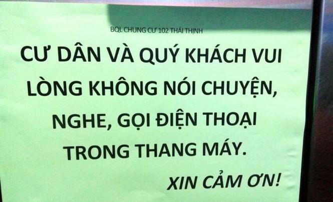 Ban quản lý chung cư 102 Thái Thịnh (TP.Hà Nội) khuyến cáo cư dân không nói chuyện trong thanh máy
