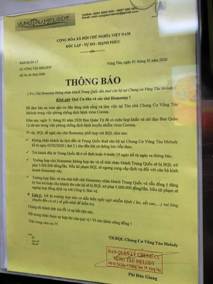 Ban quản lý chung cư Vũng Tàu thông báo sẽ xử phạt chủ căn hộ cho khách Trung Quốc thuê trong thời gian này