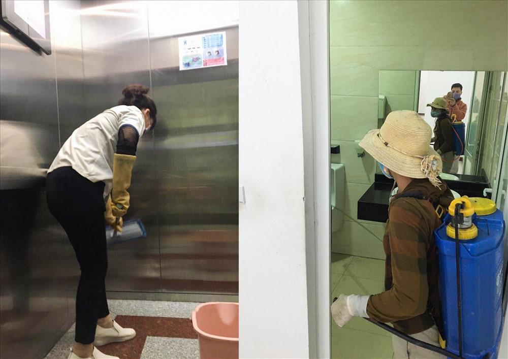 Một số chung cư chủ động lau dọn, khử trùng chống dịch bệnh