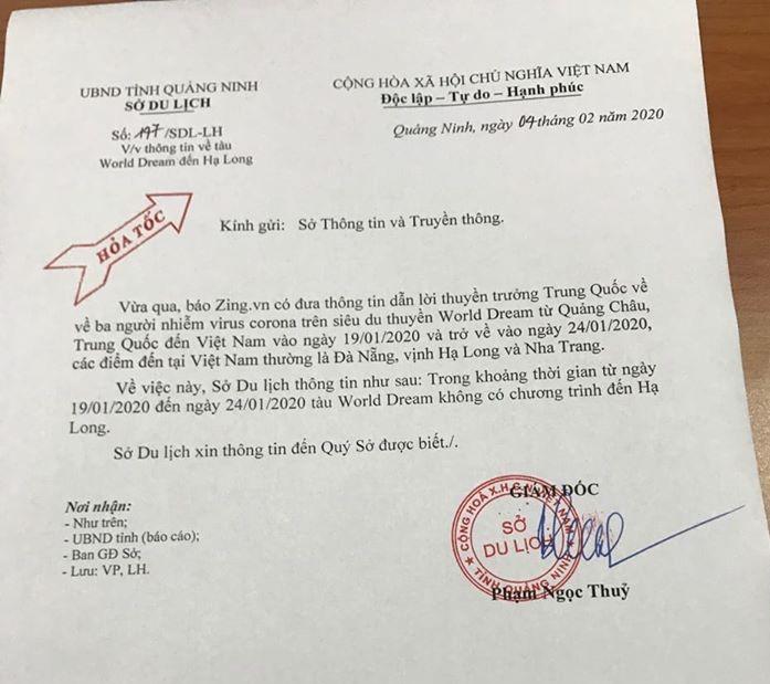 Công văn hỏa tốc của Sở Du lịch tỉnh Quảng Ninh