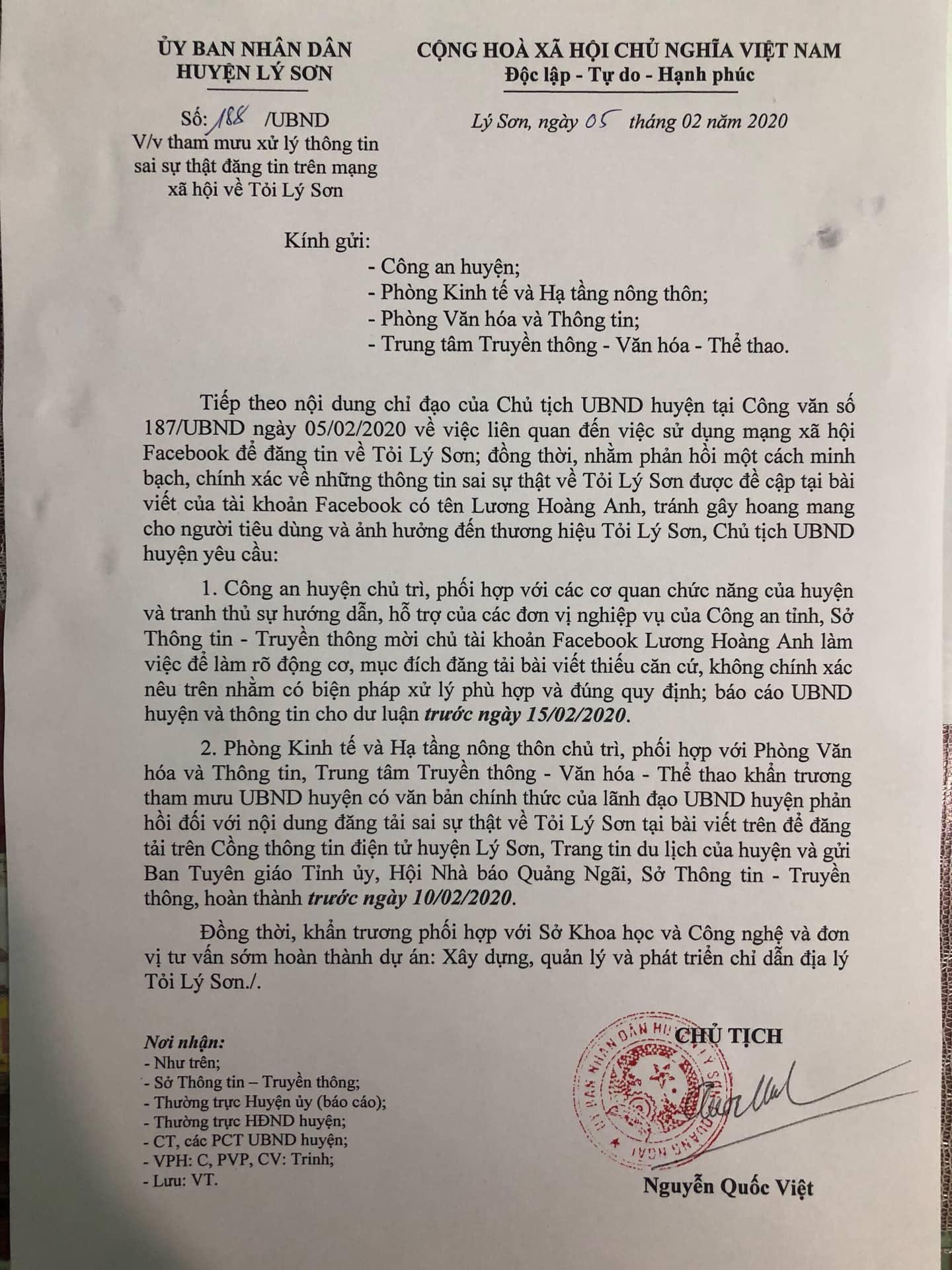 Công văn chỉ đạo của UBND huyện Lý Sơn