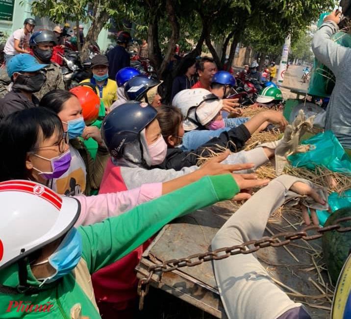 Rất đông người dân đã đến tương trợ, giải cứu dưa hấu từ một nhóm giải cứu của huyện Hóc Môn