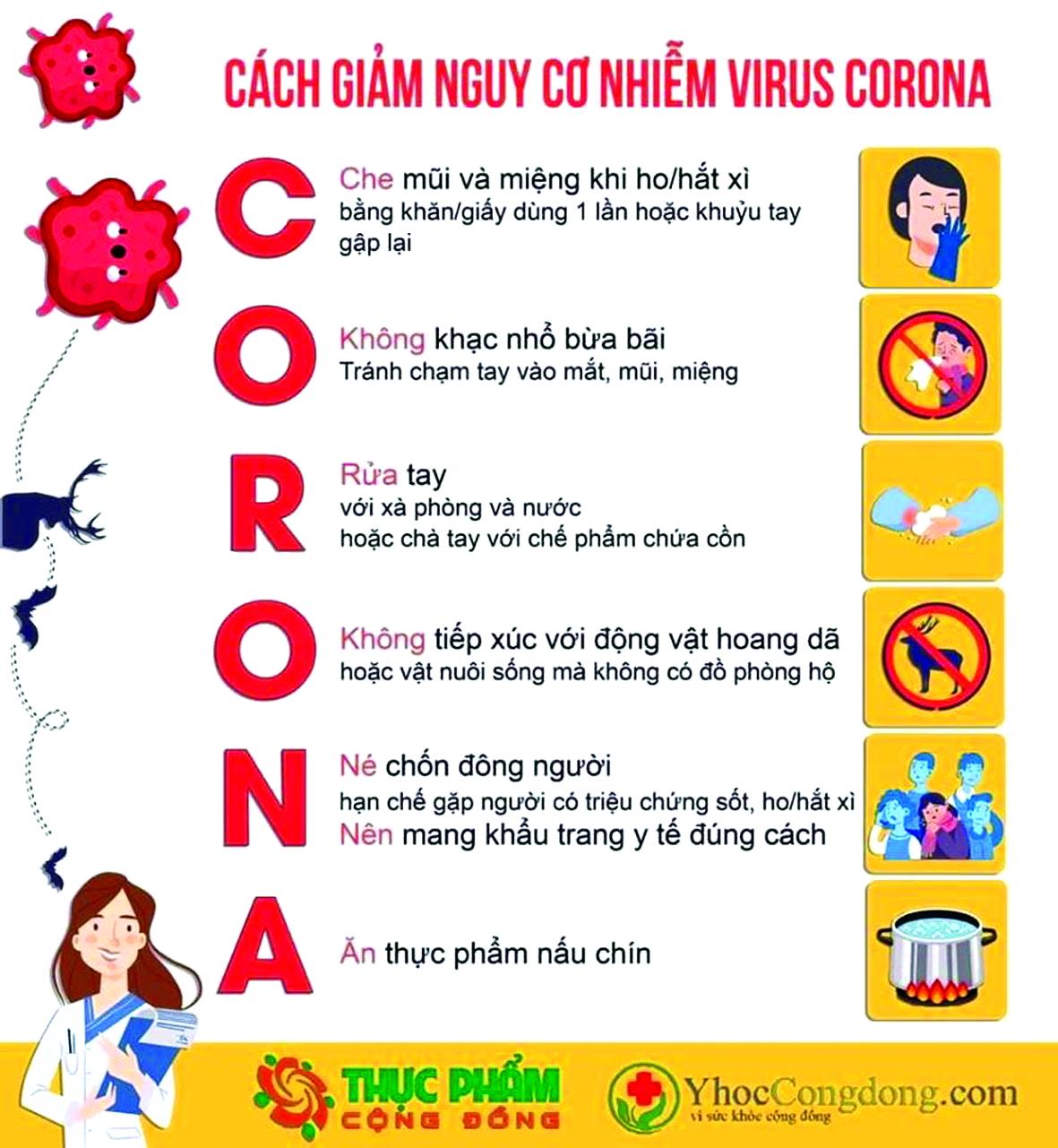 Cách giảm nguy cơ lây nhiễm vi-rút Corona