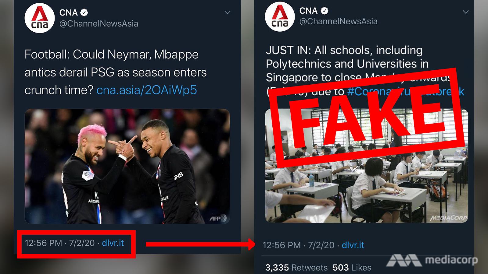 Tin nhắn Twitter giả (bên phải) về việc các trường học cho học sinh nghỉ ngày thứ Hai - Ảnh: CNA