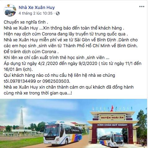 Một nhà xe về Bình Định đăng thông báo chở học sinh/sinh viên miễn phí về quê trong đợt dịch cúm do virus corona.