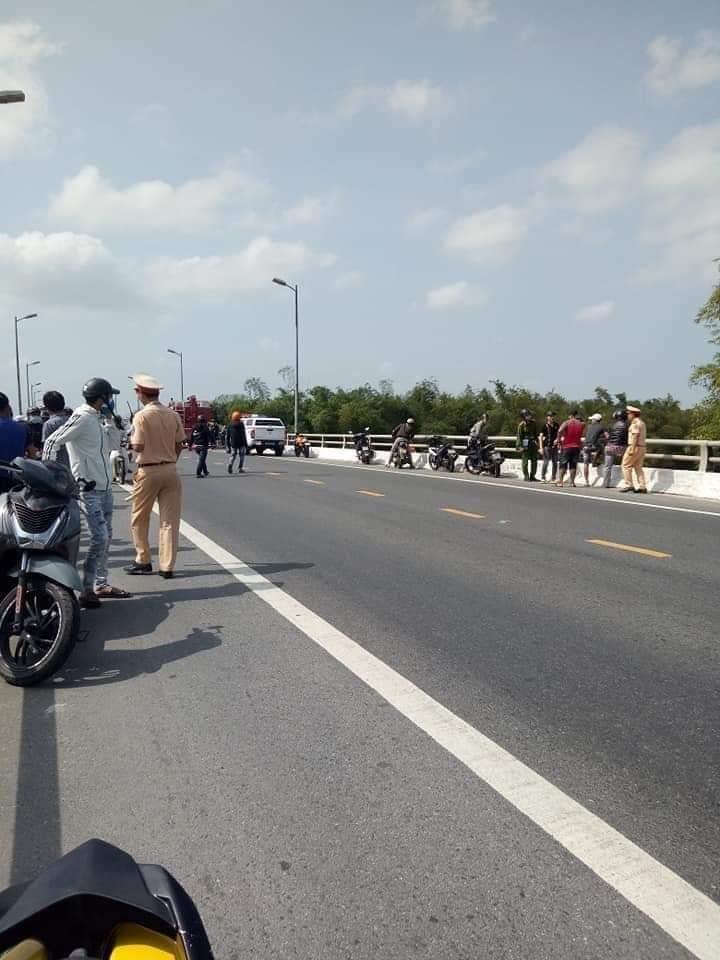 Cầu Vĩnh Điện, nơi đối tượng cướp tiệm vàng nhảy sông bỏ trốn.