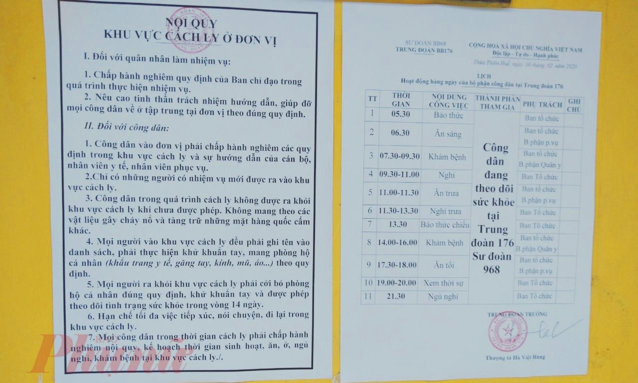 Nội quy tại khu cách ly 200 công dân từ Trung Quốc trở về Huế tại Trung đoàn 176 được ghi rõ ràng