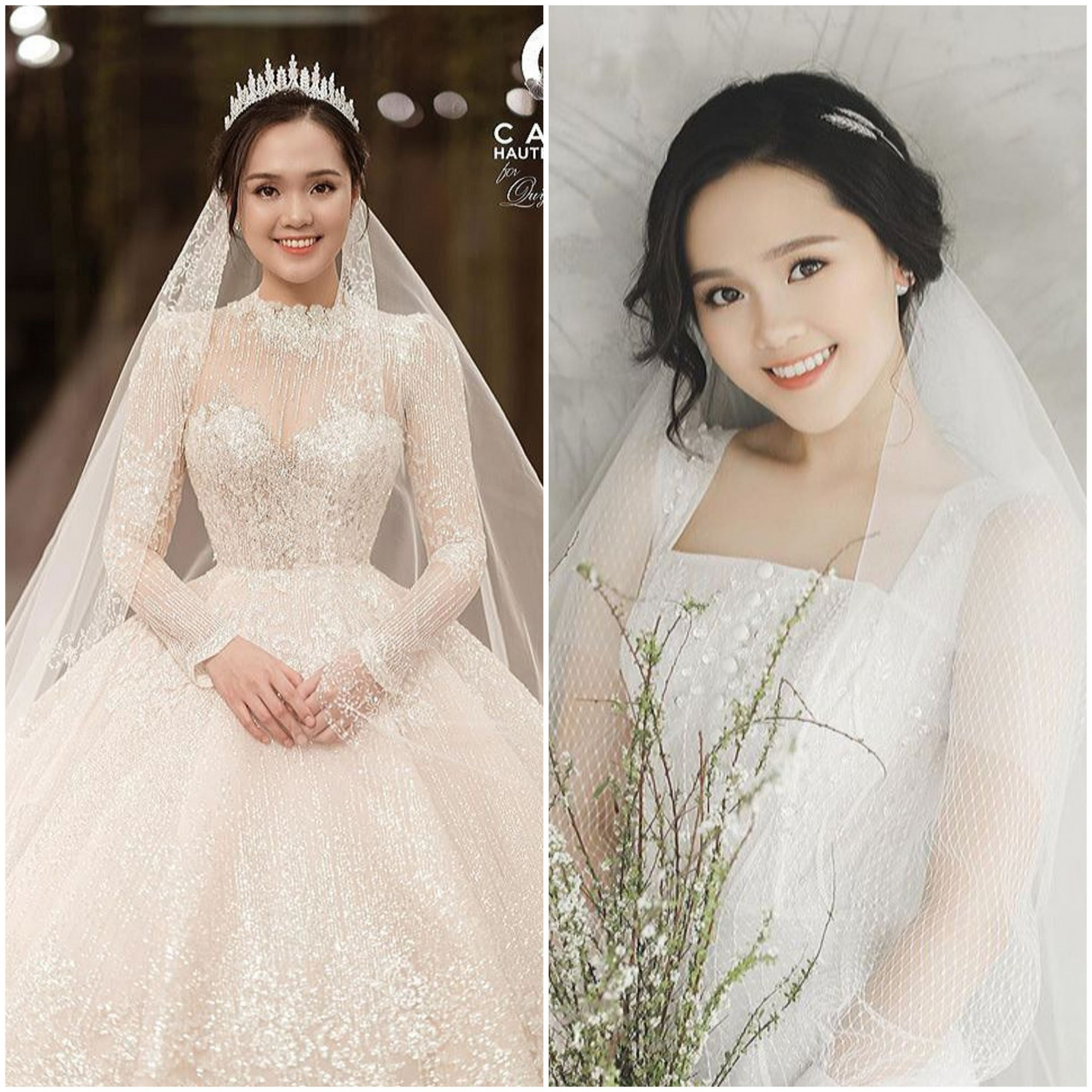 Thiết kế cầu kỳ được Quỳnh Anh diện trong tiệc cưới.