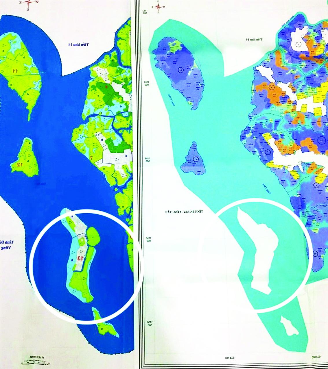 Nhìn vào bản đồ trước và sau khi kiểm kê rừng, toàn bộ diện tích rừng ở xã Thạnh An biến mất, chỉ còn một màu trắng xóa - Ảnh: H.N.