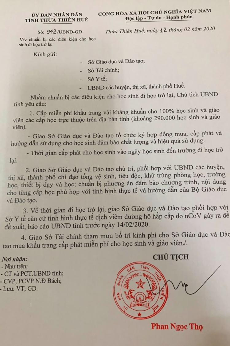 Văn bản chỉ đạo của UBND tỉnh Thừa Thiên Huế