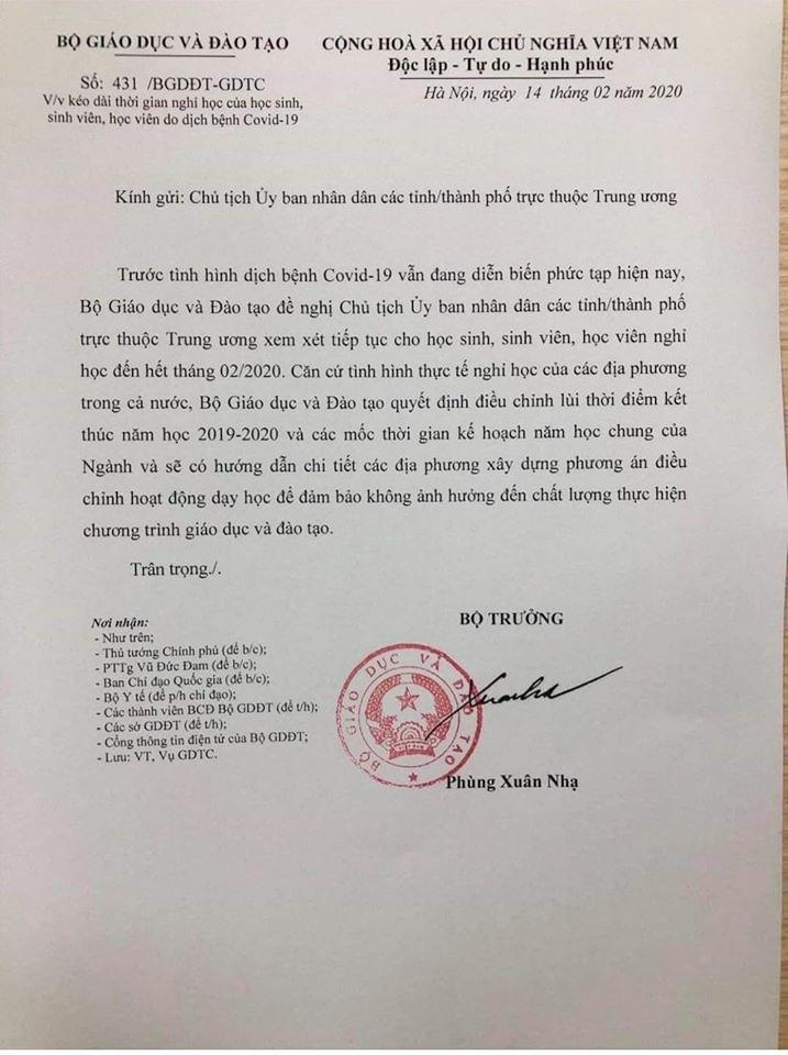 Công văn hỏa tốc của Bộ GD-ĐT gửi Chủ tịch Ủy ban nhân dân các tỉnh/thành phố trực thuộc Trung ương đề nghị kéo dài thời gian nghỉ học của học sinh, sinh viên, học viện do dịch bệnh Covid-19.