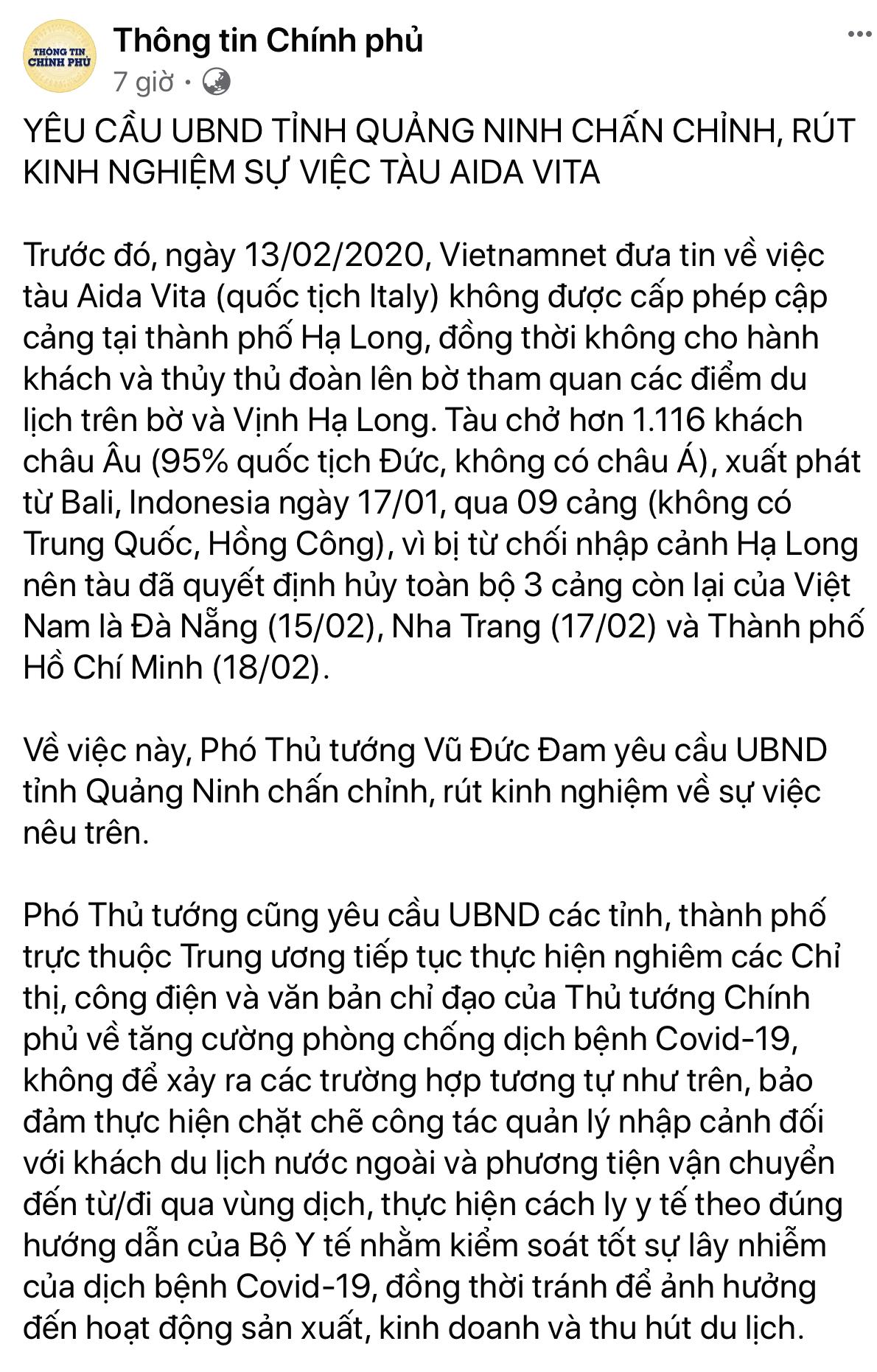 Quảng Ninh bị Chính phủ nhắc nhở sau khi từ chối cho tàu du lịch Italia cập cảng Hạ Long