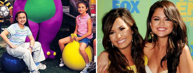Demi Lovato và Selena Gomez gặp nhau trên trường quay Barney & Friend khi còn là diễn viên nhí cuối thập niên 90. Hai cô nàng nhanh chóng thân nhau và duy trì tình bạn đẹp cho đến nay. Trông khi cô bạn thân Selena Gomez luôn là biểu tượng nhan sắc hàng đầu Hollywood dù đôi lúc cân nặng lên xuống thất thường thì Demi Lovato lại già nua, xuống sắc vì lạm dụng ma túy.