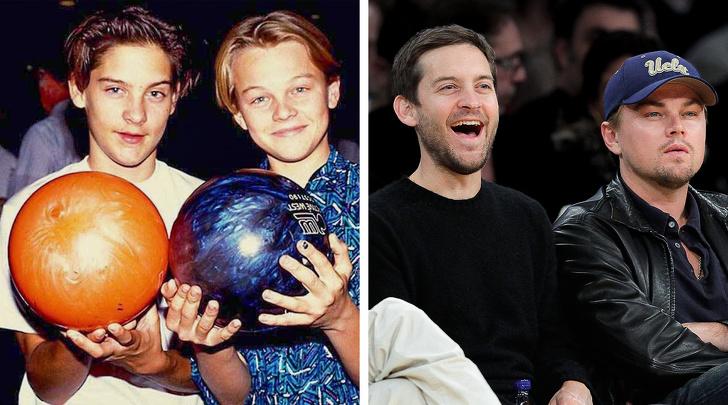 """Tobey Maguire và Leonardo DiCaprio ngày càng trưởng thành và lịch lãm hơn theo năm tháng. Gương mặt của hai tài tử không có nhiều thay đổi vẫvaanvoo cùng thoải mái và rạng rỡ khi có dịp hội ngộ. Cả hai gặp nhau cách đây 25 năm trong buổi casting, """"Sau buổi casting, tôi cảm thấy muốn làm bạn với anh chàng này. Tôi nhảy ra khỏi xe và nói: Tobey cho tôi số của anh"""", Leonardo chia sẻ."""