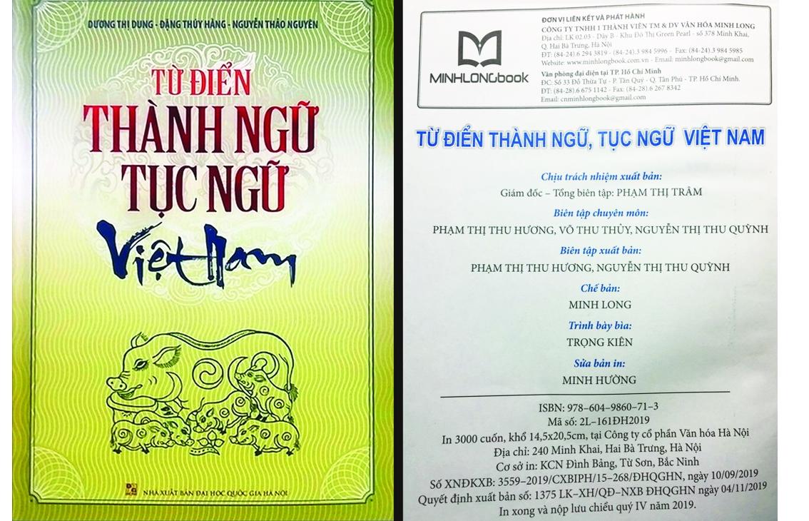 Hình trang bìa và xi-nhê cuốn Từ điển thành ngữ tục ngữ Việt Nam của nhóm tác giả Dương Thị Dung - Đặng Thúy Hằng -  Nguyễn Thảo Nguyên