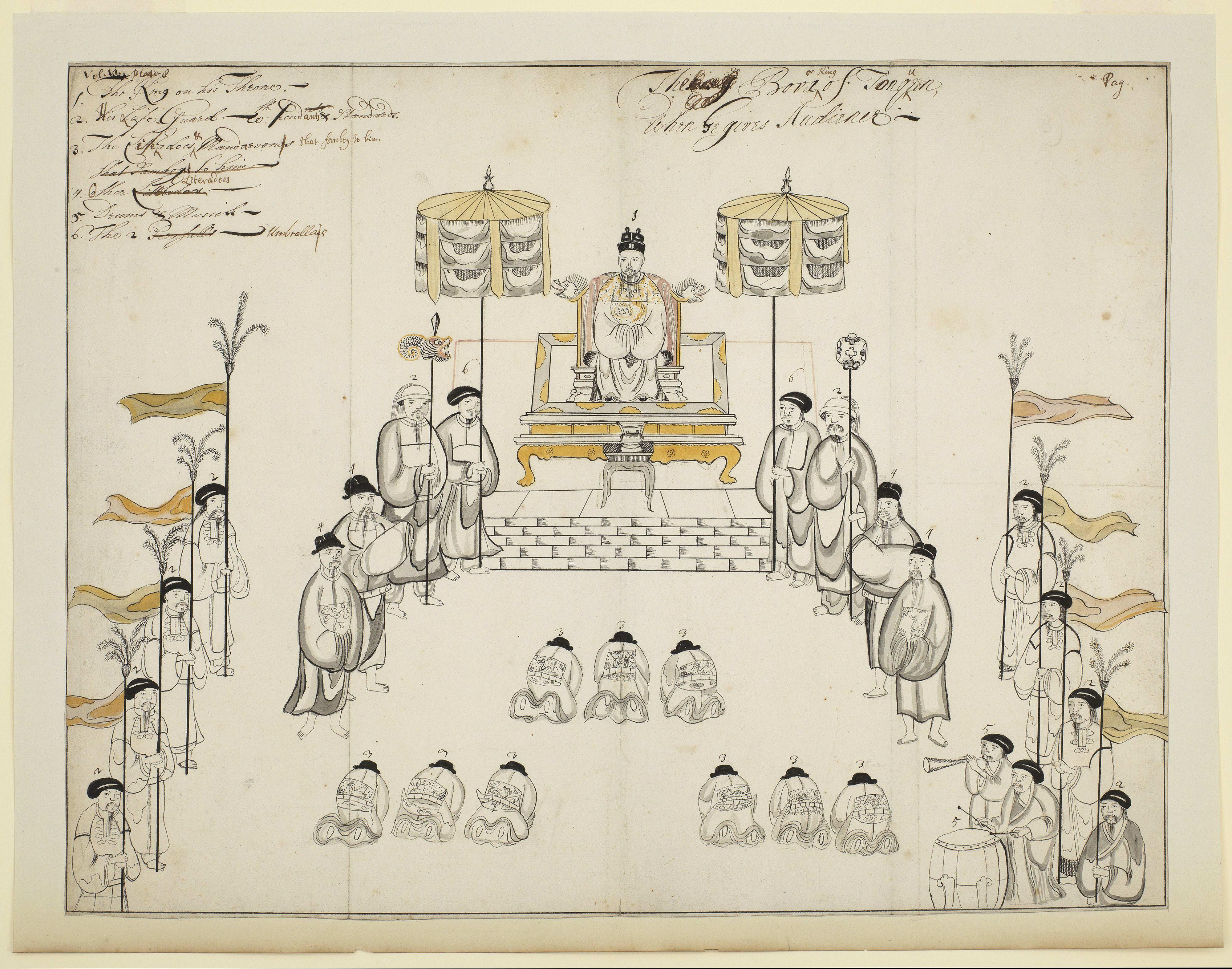 Tranh vẽ cảnh vua Lê thiết triều thế kỷ XVIII của Samuel Baron
